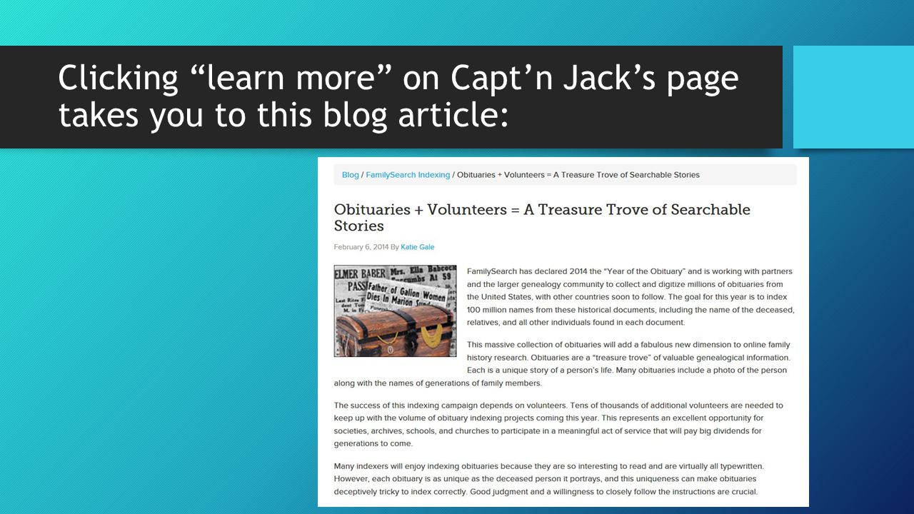 Clicking learn more on Capt'n Jack's page takes you to this blog article: