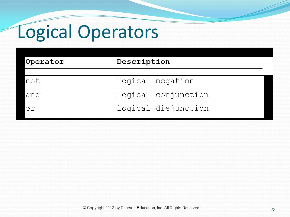 © Copyright 2012 by Pearson Education, Inc. All Rights Reserved. Logical Operators 28