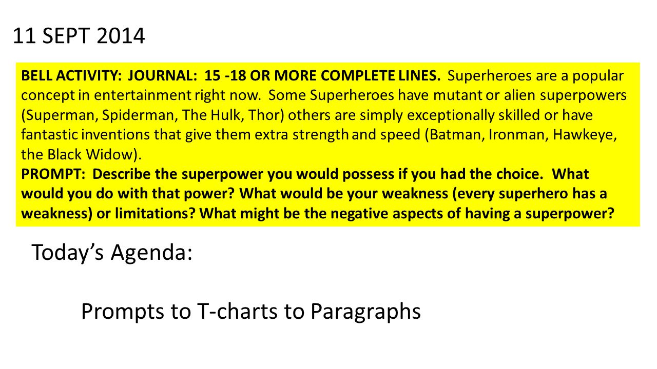 11 SEPT 2014 BELL ACTIVITY: JOURNAL: 15 -18 OR MORE COMPLETE LINES.