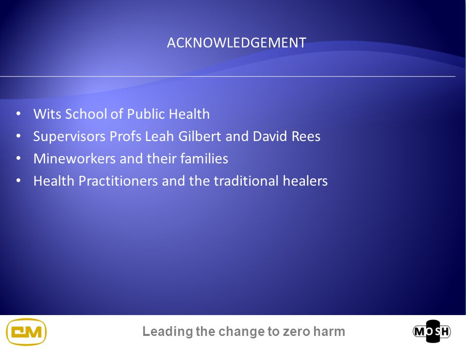 Leading the change to zero harm ACKNOWLEDGEMENT Wits School of Public Health Supervisors Profs Leah Gilbert and David Rees Mineworkers and their families Health Practitioners and the traditional healers