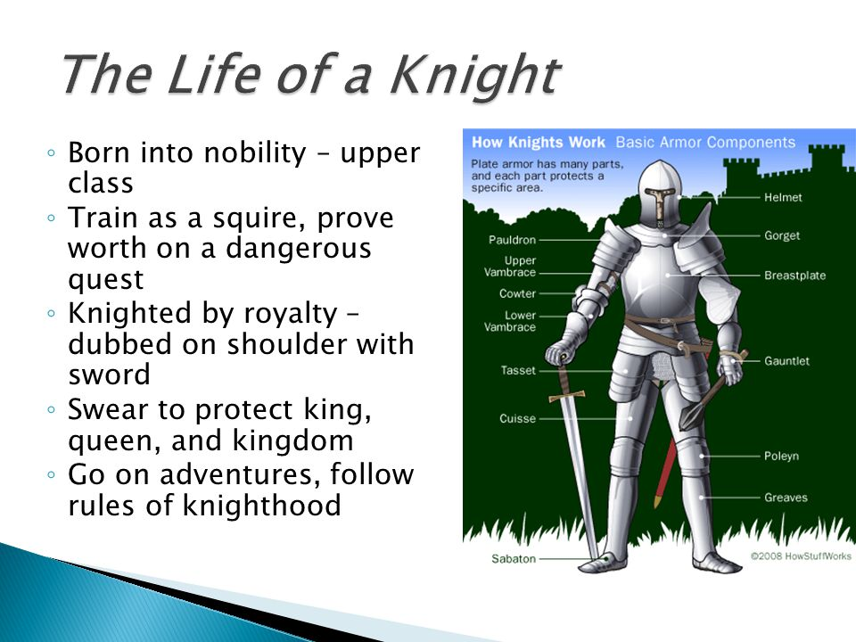 ◦ Born into nobility – upper class ◦ Train as a squire, prove worth on a dangerous quest ◦ Knighted by royalty – dubbed on shoulder with sword ◦ Swear to protect king, queen, and kingdom ◦ Go on adventures, follow rules of knighthood