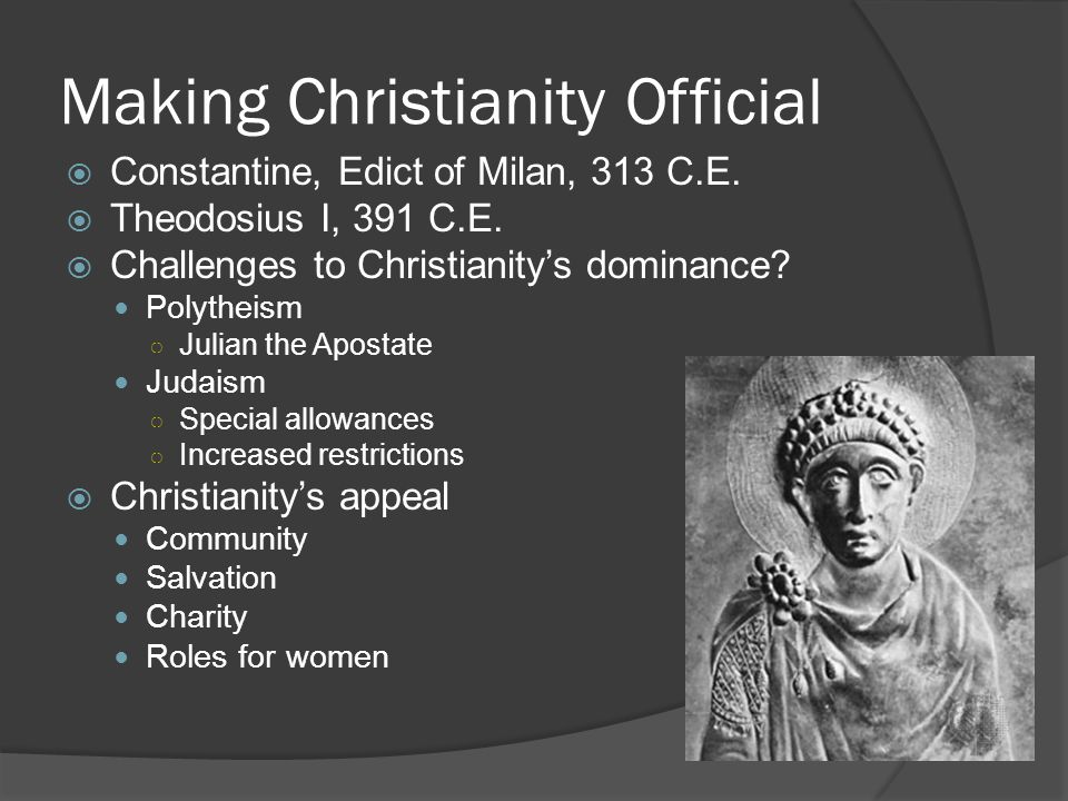 The Growth of the Christian Church  The words Christian Church referred to the officials who administered to Christians institutionalized as a Roman religion years after the death of Jesus of Nazareth the church was organized like the Roman state ○ Deacons ○ Priests ○ Bishops ○ Archbishops