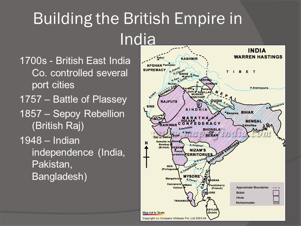 Building the British Empire in India 1700s - British East India Co. controlled several port cities 1757 – Battle of Plassey 1857 – Sepoy Rebellion (Br