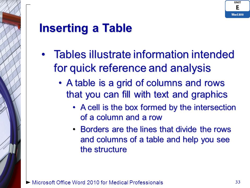 Inserting a Table Tables illustrate information intended for quick reference and analysisTables illustrate information intended for quick reference and analysis A table is a grid of columns and rows that you can fill with text and graphicsA table is a grid of columns and rows that you can fill with text and graphics A cell is the box formed by the intersection of a column and a rowA cell is the box formed by the intersection of a column and a row Borders are the lines that divide the rows and columns of a table and help you see the structureBorders are the lines that divide the rows and columns of a table and help you see the structure 33 Microsoft Office Word 2010 for Medical Professionals