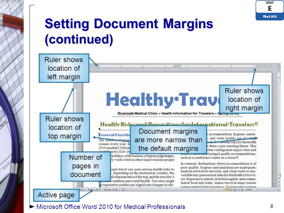 Adding Headers and Footers (continued) Document text is dimmed when the Header and Footer areas are openDocument text is dimmed when the Header and Footer areas are open Dimmed text cannot be editedDimmed text cannot be edited 29 Header & Footer Tools Design Tab Header area open Microsoft Office Word 2010 for Medical Professionals Content control Tab stops for header set for default document margins Document text is dimmed