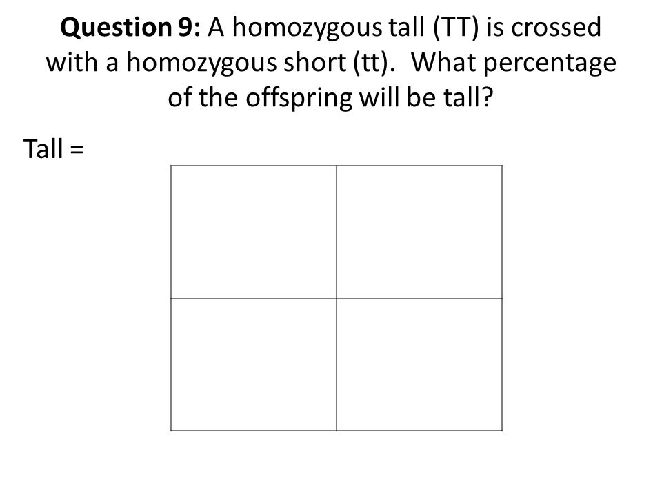 Question 9: A homozygous tall (TT) is crossed with a homozygous short (tt).