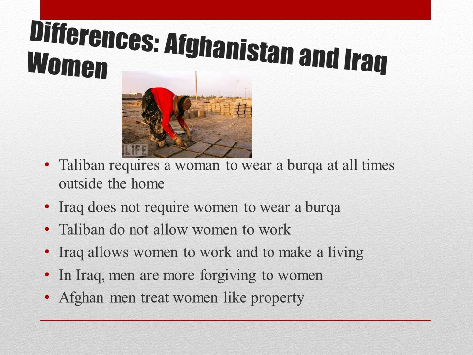 Differences: Afghanistan and Iraq Women Taliban requires a woman to wear a burqa at all times outside the home Iraq does not require women to wear a b