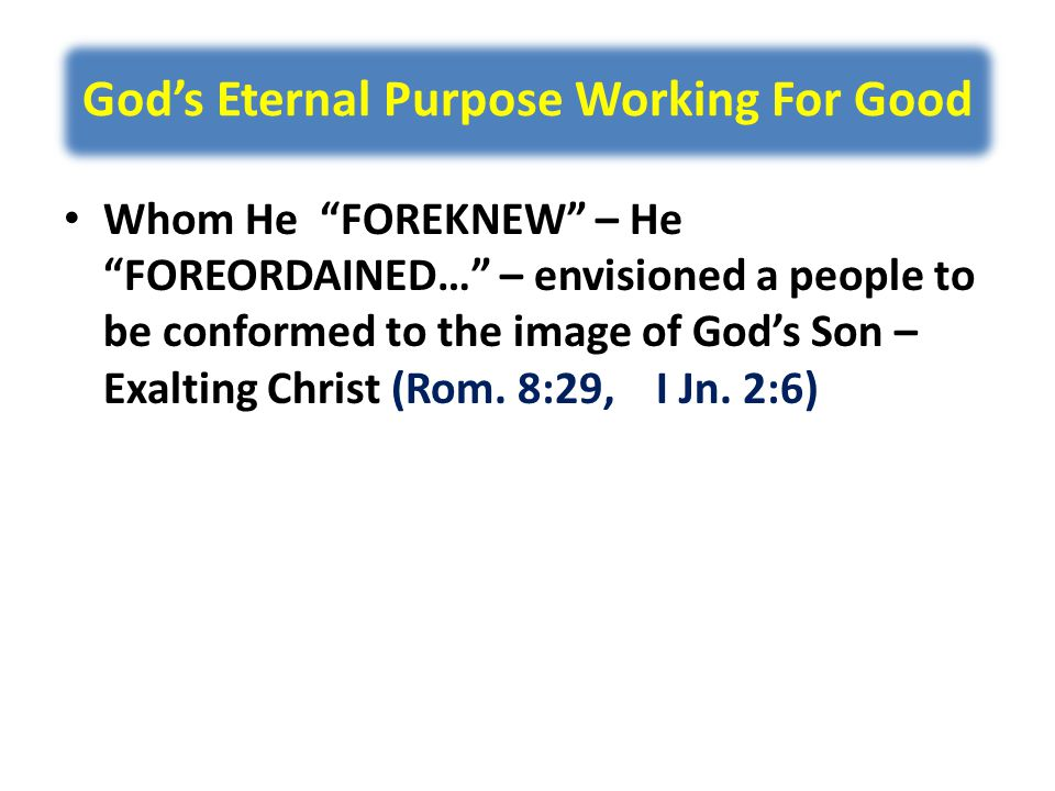 God's Eternal Purpose Working For Good Whom He FOREKNEW – He FOREORDAINED… – envisioned a people to be conformed to the image of God's Son – Exalting Christ (Rom.