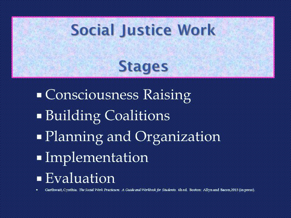 Consciousness Raising  Building Coalitions  Planning and Organization  Implementation  Evaluation  Garthwait, Cynthia.