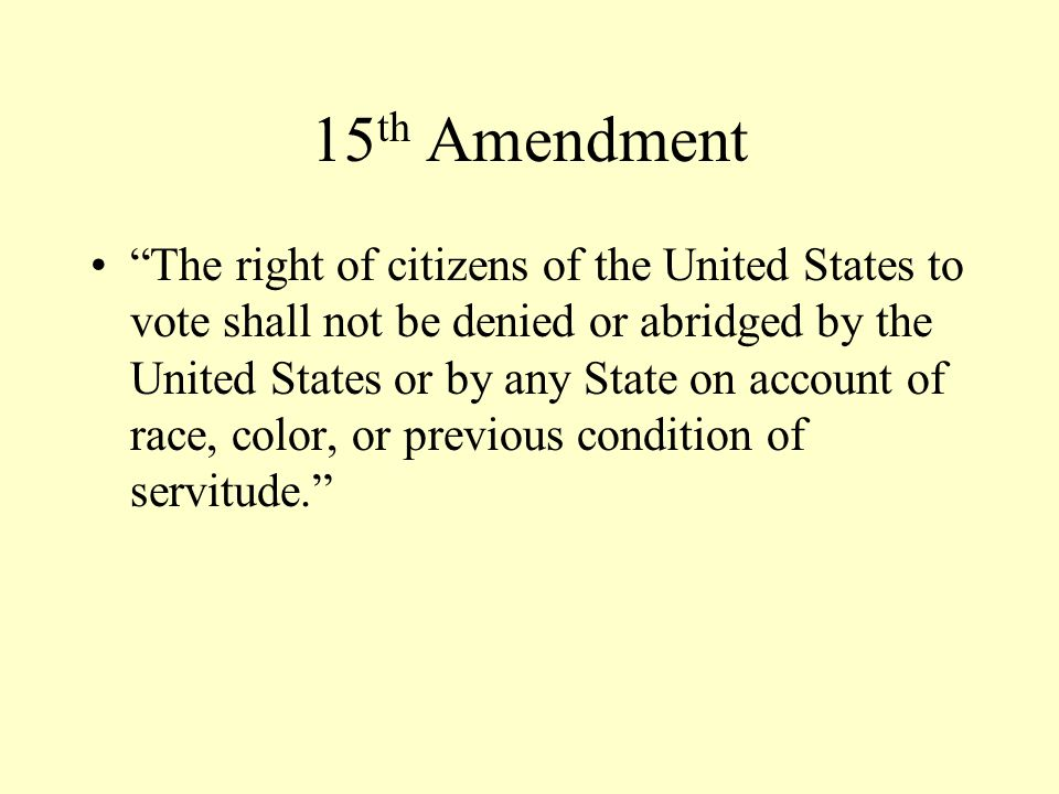 14 th Amendment National Definitions of Citizenship Equal Protection Clause Due Process Clause High Confederate Official banned from national office Confederate debt repudiated
