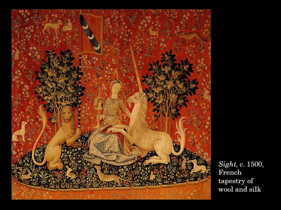 The celebration of the role played by sight in love, in which the mirror loses its negative association with vanity, occurs in a tapestry representing 'Sight' from the Five Senses Tapestries that were made for a member of the le Viste family of Lyons at the end of the fifteenth century.
