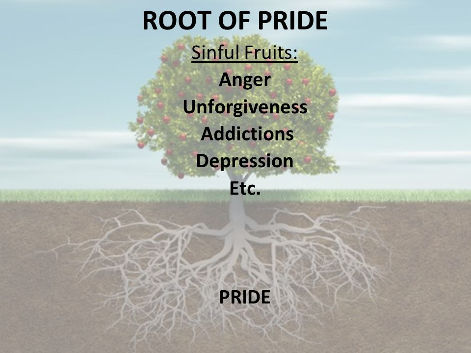 ROOT OF PRIDE Sinful Fruits: Anger Unforgiveness Addictions Depression Etc. PRIDE