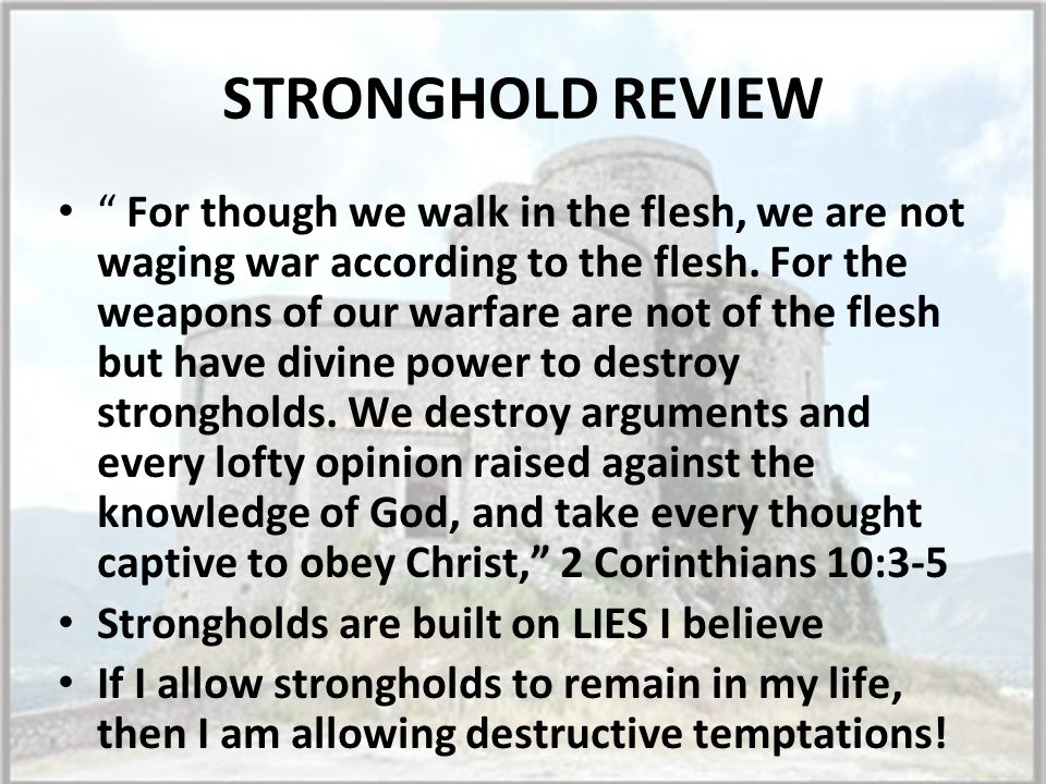 STRONGHOLD REVIEW For though we walk in the flesh, we are not waging war according to the flesh.