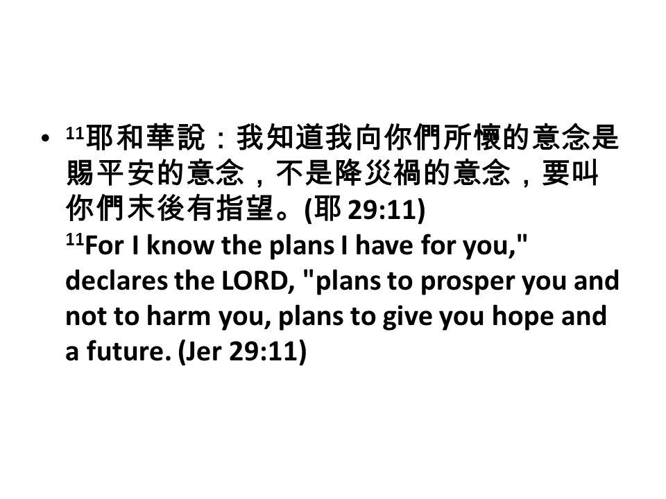 11 耶和華說:我知道我向你們所懷的意念是 賜平安的意念,不是降災禍的意念,要叫 你們末後有指望。 ( 耶 29:11) 11 For I know the plans I have for you, declares the LORD, plans to prosper you and not to harm you, plans to give you hope and a future.