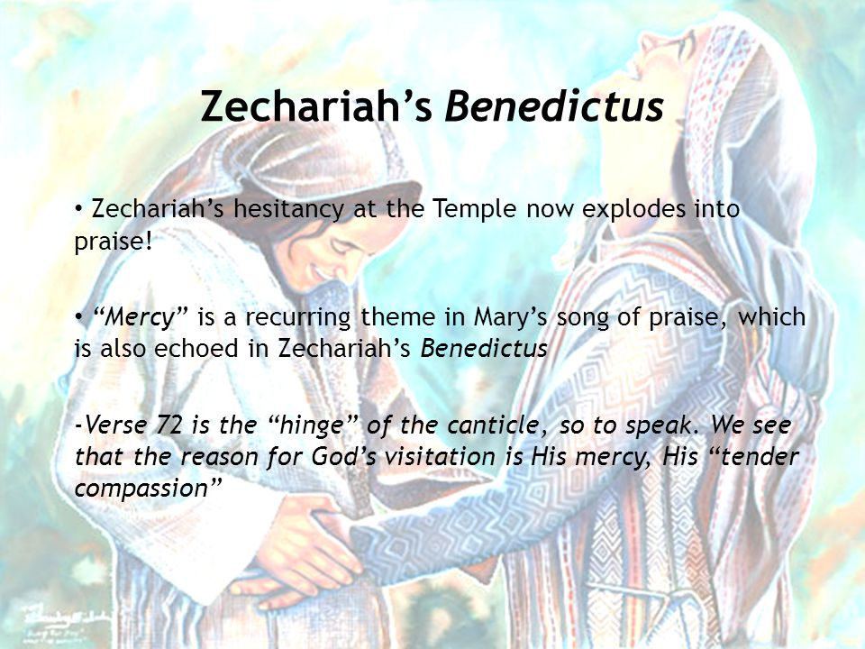 Zechariah's hesitancy at the Temple now explodes into praise.