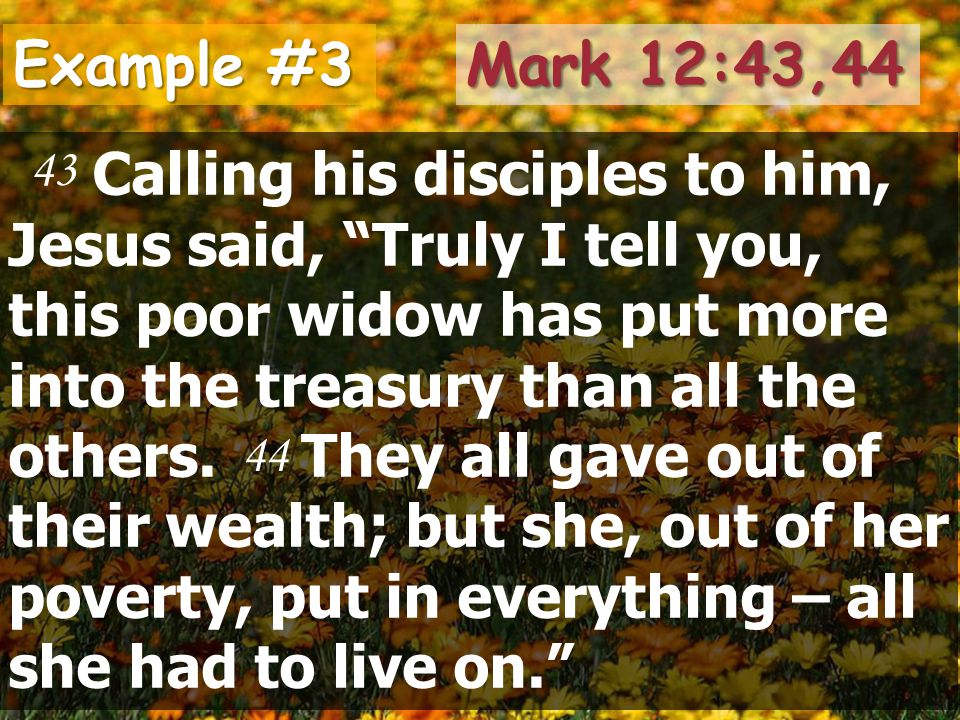 Example #3 Calling his disciples to him, Jesus said, Truly I tell you, this poor widow has put more into the treasury than all the others.