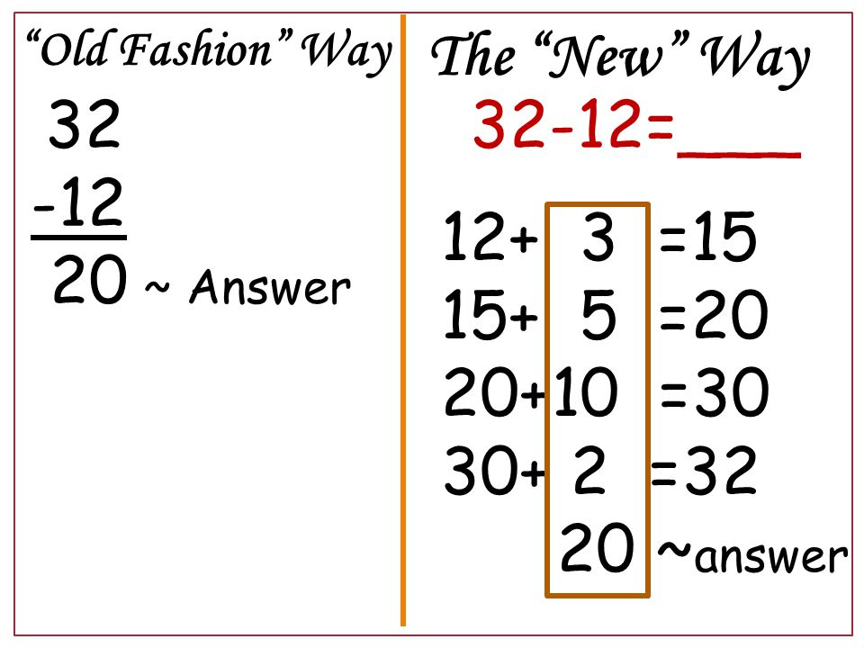 Old Fashion Way 32 -12 20 ~ Answer The New Way 32-12=___ 12+ 3 =15 15+ 5 =20 20+10 =30 30+ 2 =32 20 ~ answer
