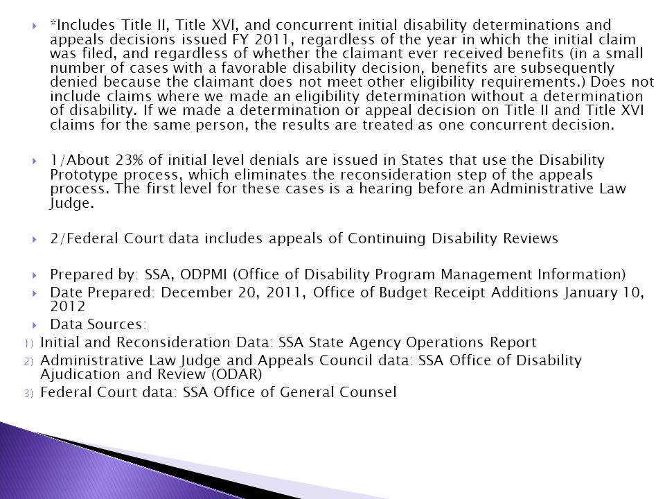  *Includes Title II, Title XVI, and concurrent initial disability determinations and appeals decisions issued FY 2011, regardless of the year in whic