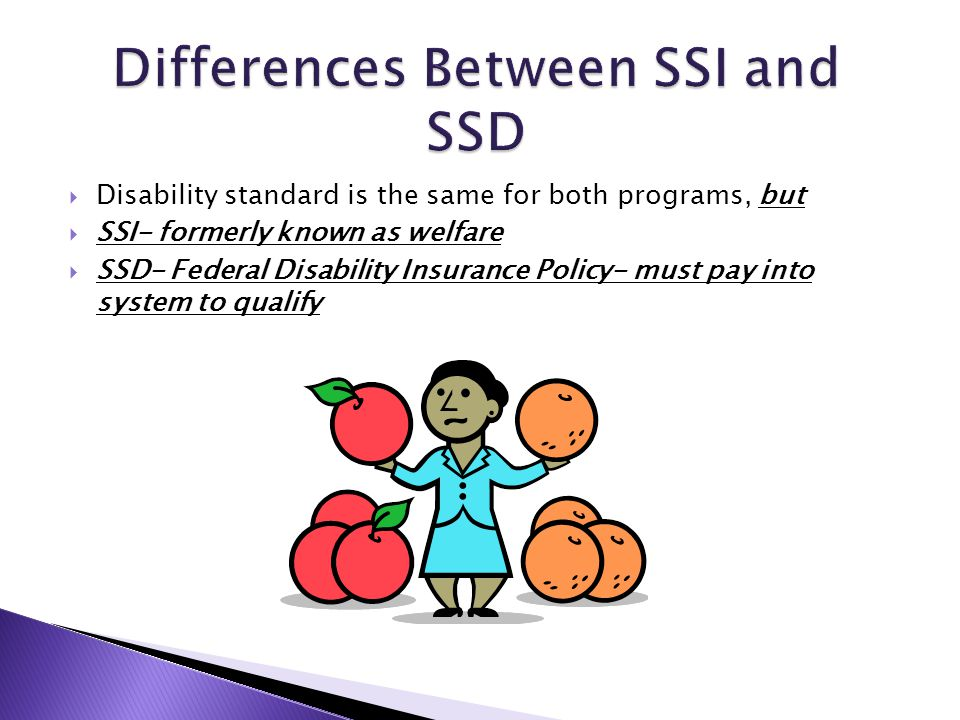  Disability standard is the same for both programs, but  SSI- formerly known as welfare  SSD- Federal Disability Insurance Policy- must pay into sy