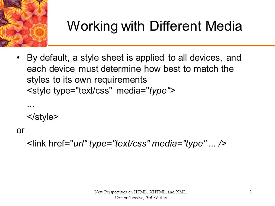 New Perspectives on HTML, XHTML, and XML, Comprehensive, 3rd Edition 14 Summary Applied styles to various media Hid elements from printing Created and applied printer styles Created and prohibited page breaks for printing