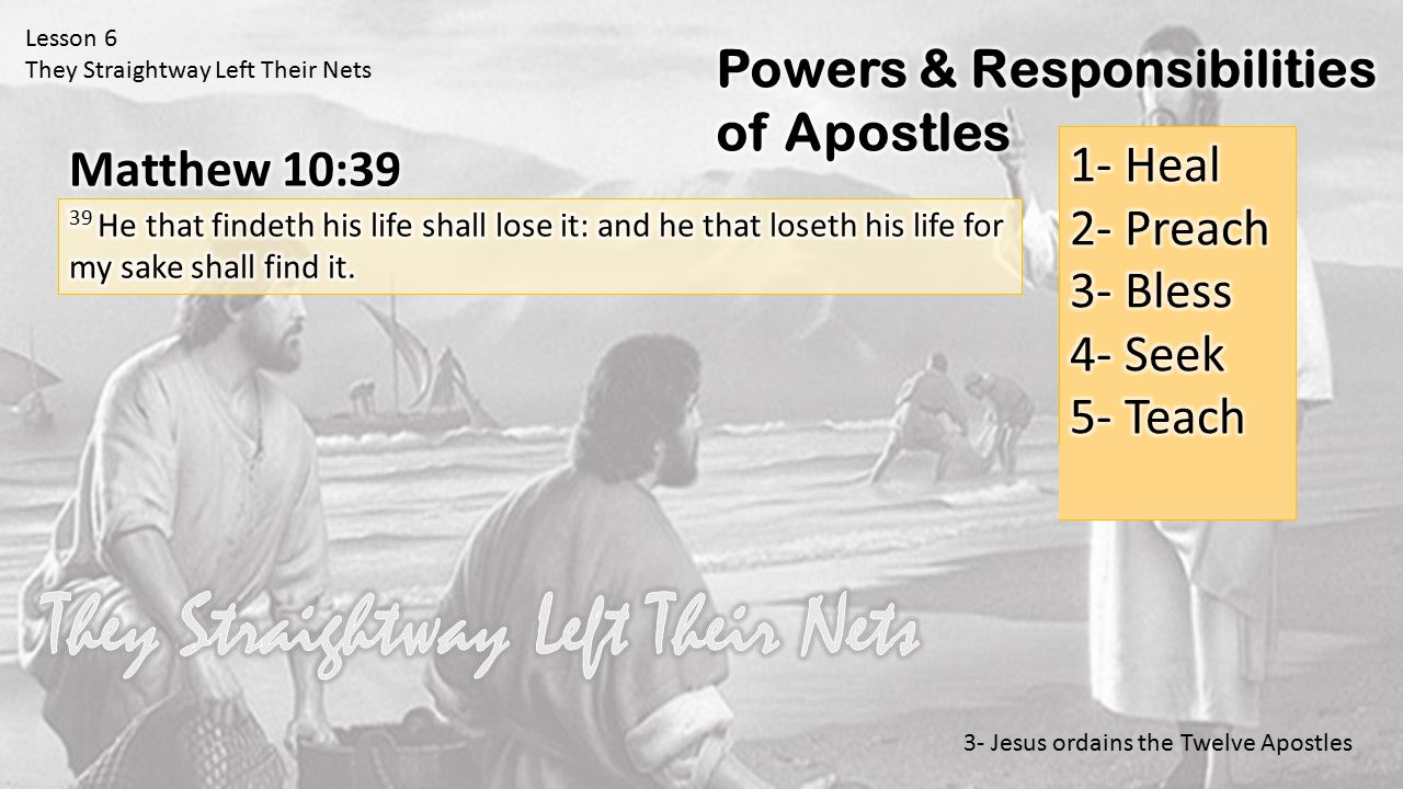 Lesson 6 They Straightway Left Their Nets 3- Jesus ordains the Twelve Apostles