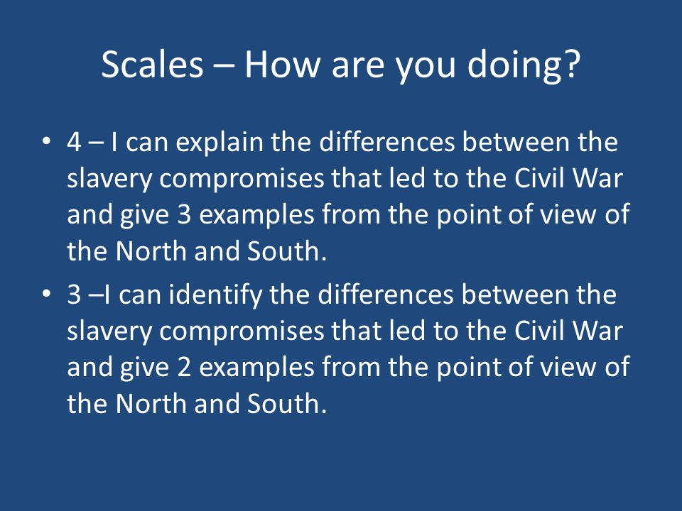 Scales – How are you doing.