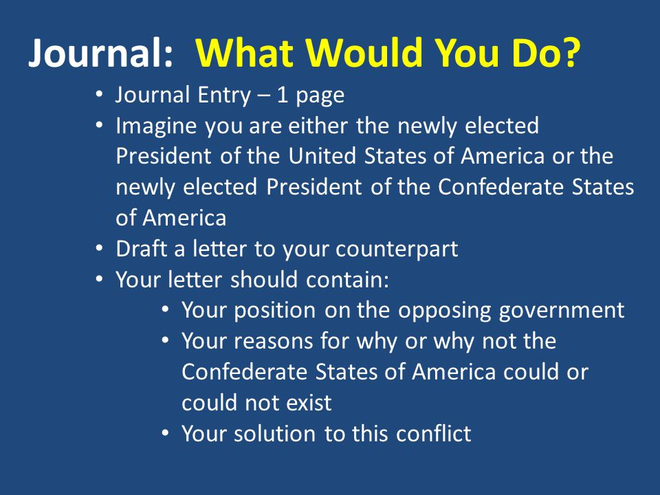 Journal: What Would You Do.