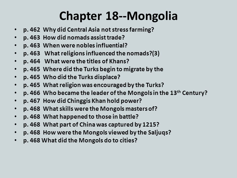 Chapter 18--Mongolia p. 462 Why did Central Asia not stress farming.