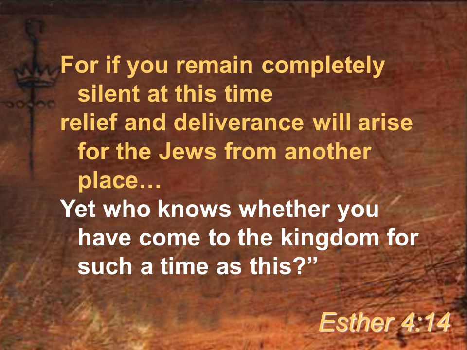 For if you remain completely silent at this time relief and deliverance will arise for the Jews from another place… Yet who knows whether you have come to the kingdom for such a time as this Esther 4:14