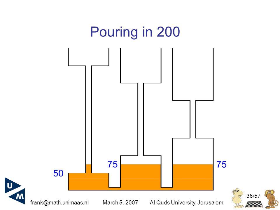 frank@math.unimaas.nl March 5, 2007Al Quds University, Jerusalem 36/57 Pouring in 200 75 50 75