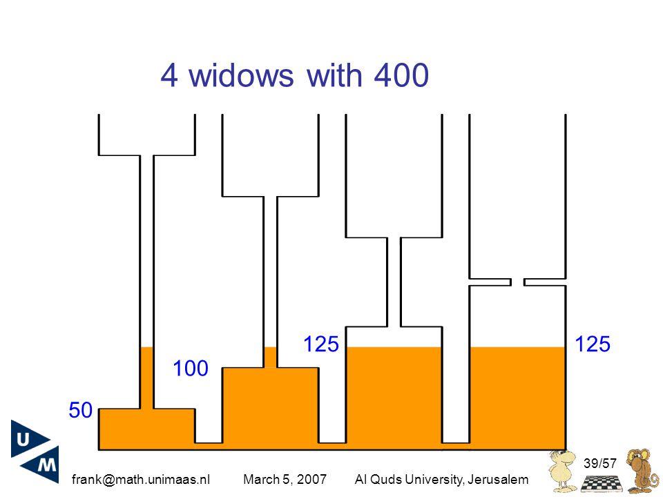 frank@math.unimaas.nl March 5, 2007Al Quds University, Jerusalem 39/57 4 widows with 400 125 100 50 125