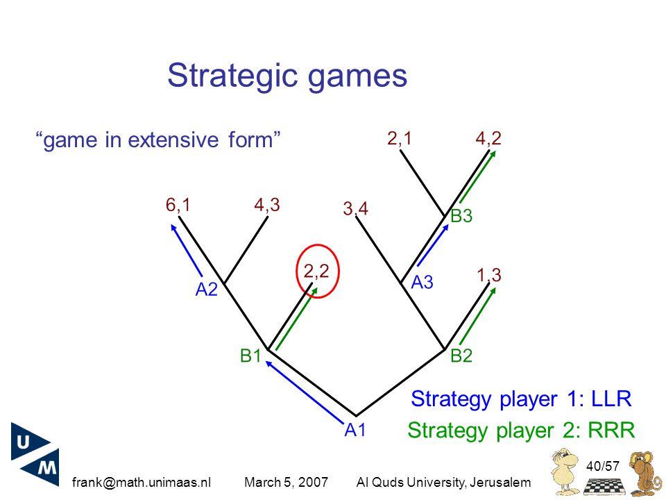frank@math.unimaas.nl March 5, 2007Al Quds University, Jerusalem 40/57 Strategic games Strategy player 1: LLR Strategy player 2: RRR game in extensive form