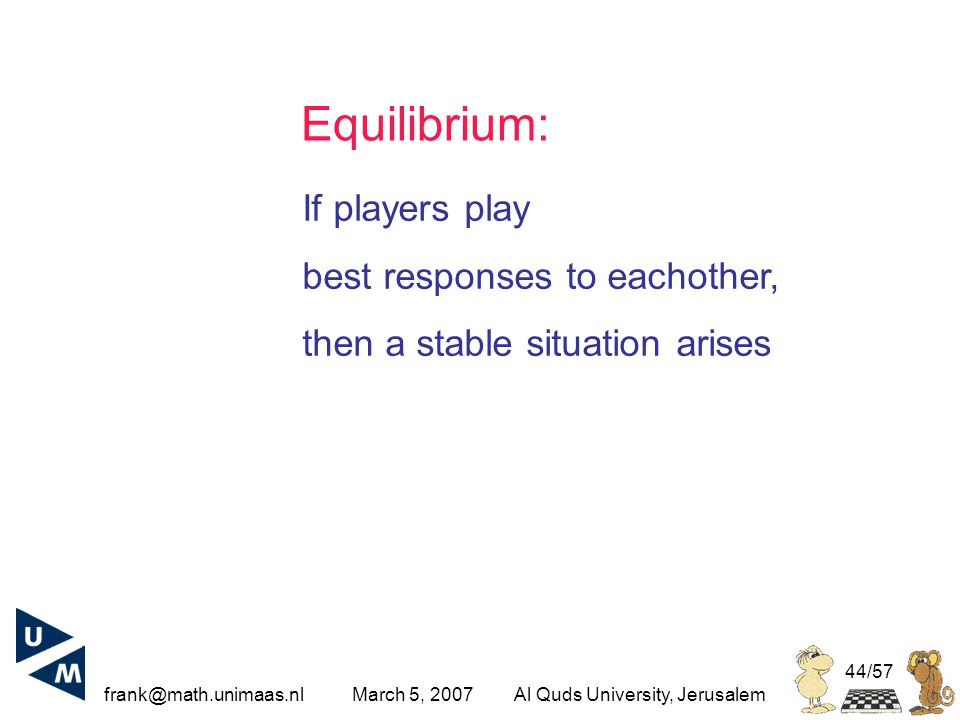frank@math.unimaas.nl March 5, 2007Al Quds University, Jerusalem 44/57 Equilibrium: If players play best responses to eachother, then a stable situation arises
