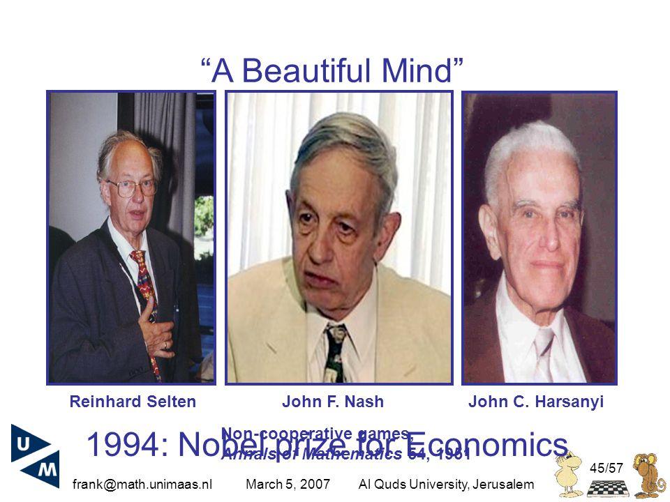 frank@math.unimaas.nl March 5, 2007Al Quds University, Jerusalem 45/57 1994: Nobel prize for Economics John F.