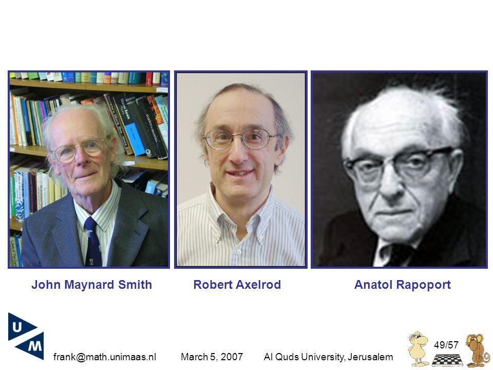 frank@math.unimaas.nl March 5, 2007Al Quds University, Jerusalem 49/57 Robert AxelrodAnatol RapoportJohn Maynard Smith