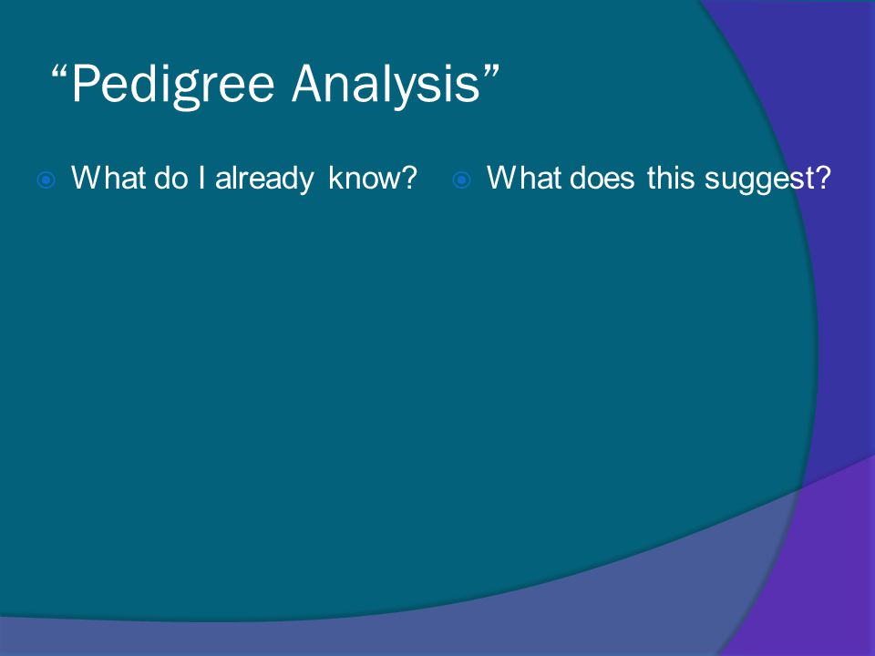 Pedigree Analysis  What do I already know  What does this suggest