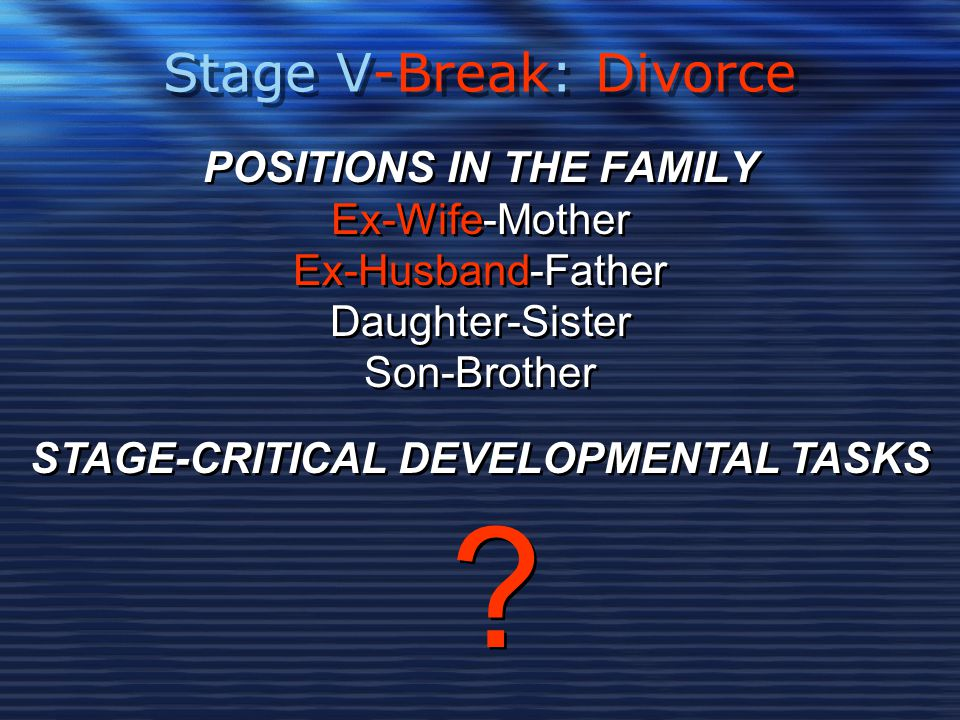Stage V-Break: Divorce POSITIONS IN THE FAMILY Ex-Wife-Mother Ex-Husband-Father Daughter-Sister Son-Brother POSITIONS IN THE FAMILY Ex-Wife-Mother Ex-Husband-Father Daughter-Sister Son-Brother STAGE-CRITICAL DEVELOPMENTAL TASKS .