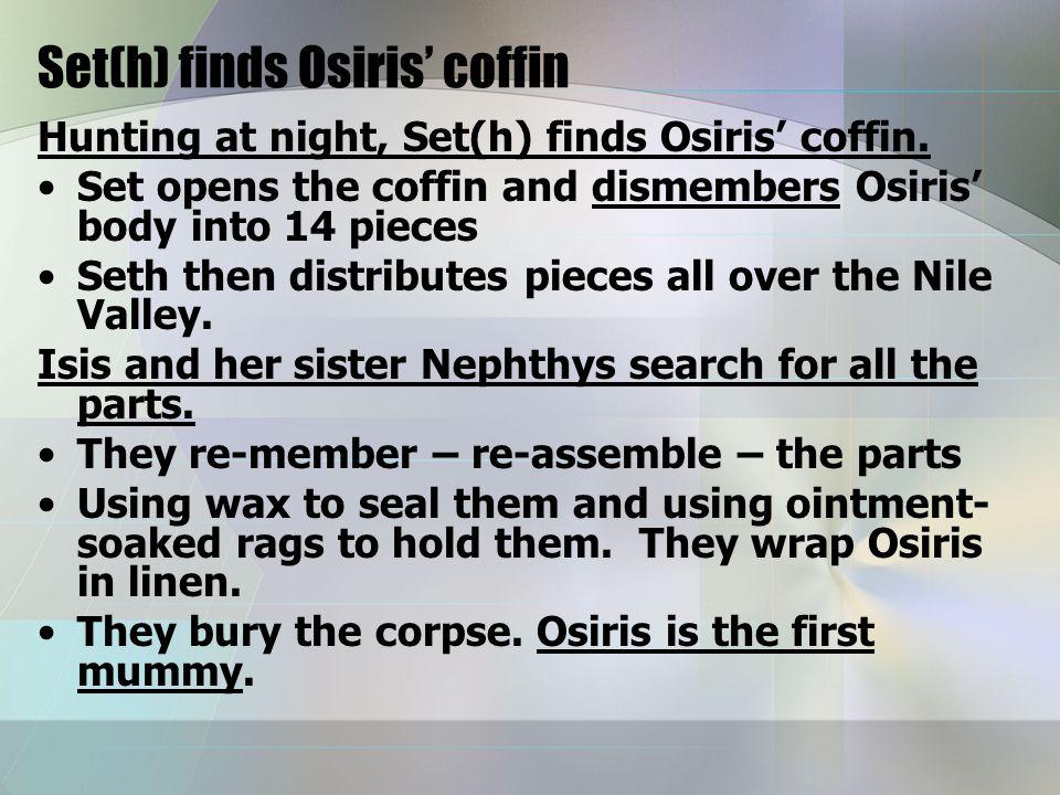 Set(h) finds Osiris' coffin Hunting at night, Set(h) finds Osiris' coffin.