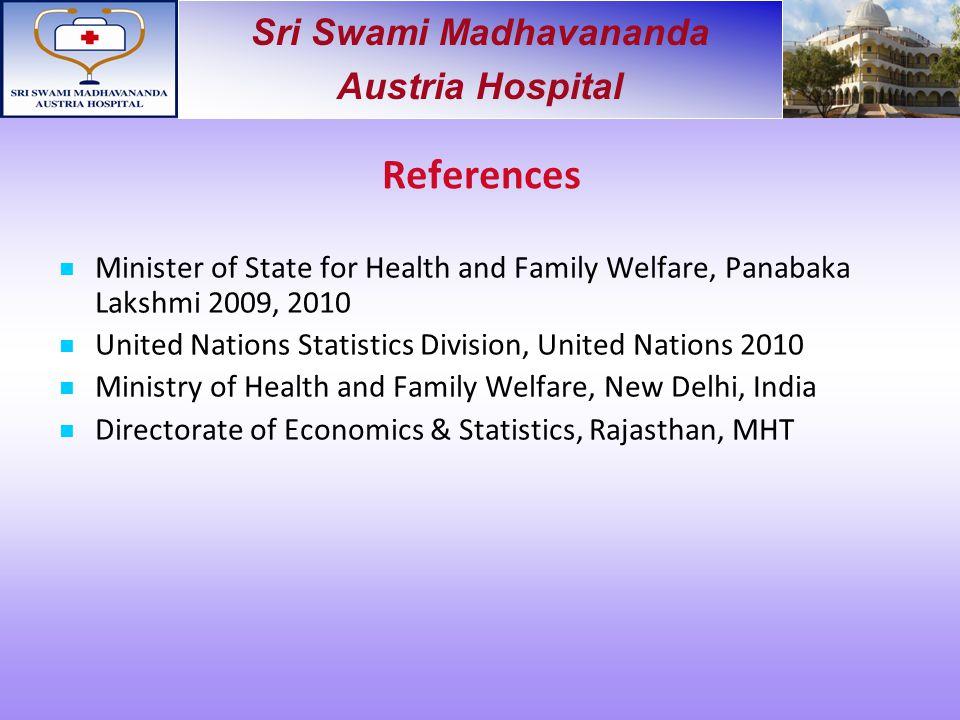 Sri Swami Madhavananda Austria Hospital References Minister of State for Health and Family Welfare, Panabaka Lakshmi 2009, 2010 United Nations Statist