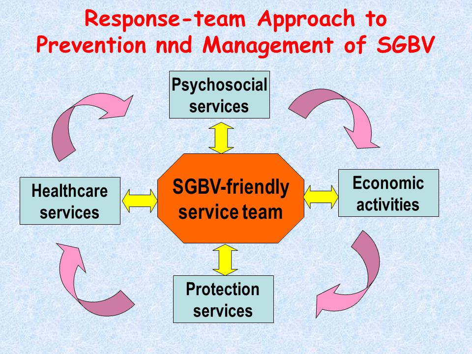 Response-team Approach to Prevention nnd Management of SGBV Healthcare services Psychosocial services Protection services Economic activities SGBV-friendly service team