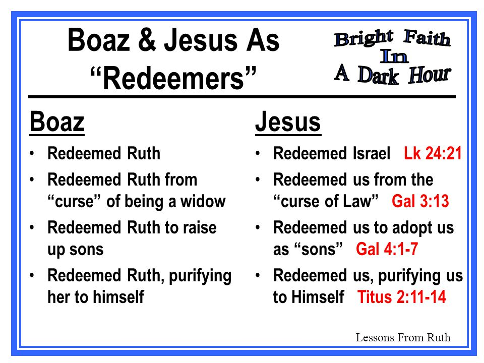 Lessons From Ruth Boaz & Jesus As Redeemers Boaz Redeemed Ruth Redeemed Ruth from curse of being a widow Redeemed Ruth to raise up sons Redeemed Ruth, purifying her to himself Jesus Redeemed Israel Lk 24:21 Redeemed us from the curse of Law Gal 3:13 Redeemed us to adopt us as sons Gal 4:1-7 Redeemed us, purifying us to Himself Titus 2:11-14