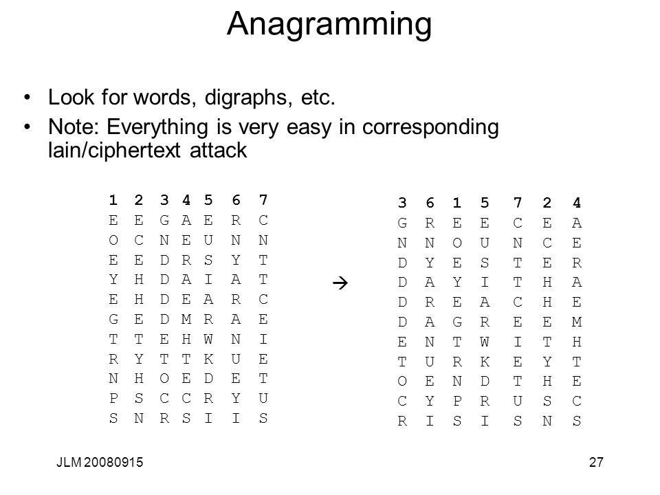 JLM 2008091527 Anagramming Look for words, digraphs, etc. Note: Everything is very easy in corresponding lain/ciphertext attack 1EOEYEGTRNPS1EOEYEGTRN