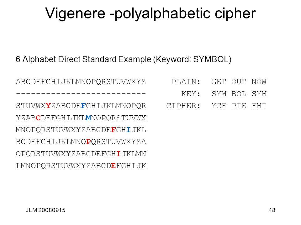 JLM 2008091548 Vigenere -polyalphabetic cipher 6 Alphabet Direct Standard Example (Keyword: SYMBOL) ABCDEFGHIJKLMNOPQRSTUVWXYZ PLAIN: GET OUT NOW ----