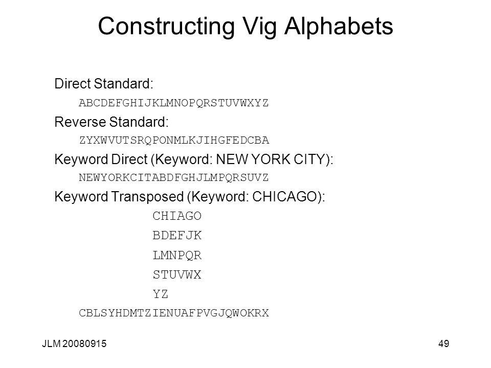 JLM 2008091549 Constructing Vig Alphabets Direct Standard: ABCDEFGHIJKLMNOPQRSTUVWXYZ Reverse Standard: ZYXWVUTSRQPONMLKJIHGFEDCBA Keyword Direct (Key