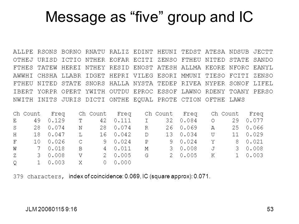 "JLM 20060115 9:1653 Message as ""five"" group and IC ALLPE RSONS BORNO RNATU RALIZ EDINT HEUNI TEDST ATESA NDSUB JECTT OTHEJ URISD ICTIO NTHER EOFAR ECI"