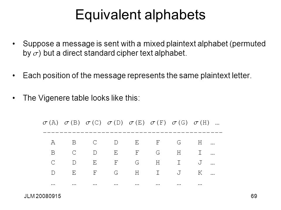 JLM 2008091569 Equivalent alphabets Suppose a message is sent with a mixed plaintext alphabet (permuted by s ) but a direct standard cipher text alpha