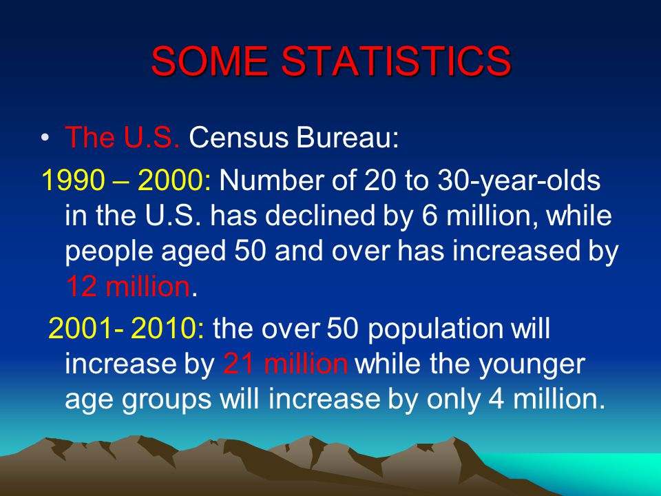 SOME STATISTICS The U.S. Census Bureau: 1990 – 2000: Number of 20 to 30-year-olds in the U.S. has declined by 6 million, while people aged 50 and over