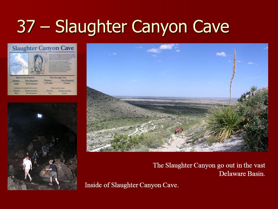 37 – Slaughter Canyon Cave The Slaughter Canyon go out in the vast Delaware Basin.