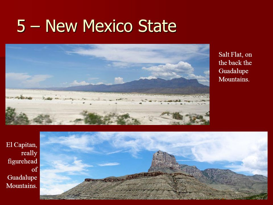 5 – New Mexico State Salt Flat, on the back the Guadalupe Mountains.