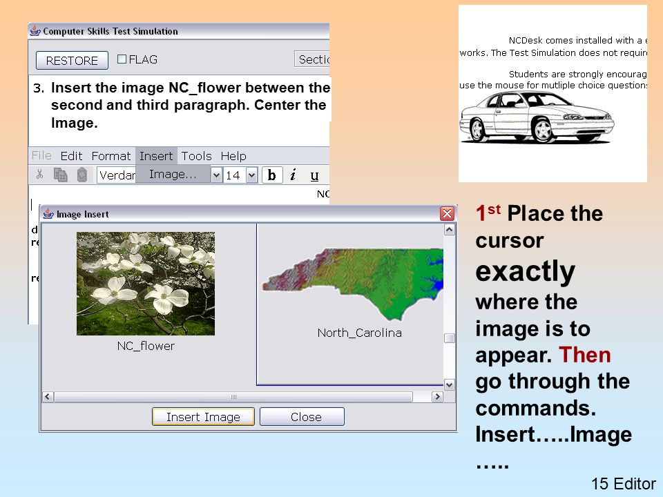 15 Editor 1 st Place the cursor exactly where the image is to appear.